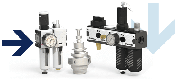 Service systems multi-part for compressed air, filters for compressed air, oilers for compressed air