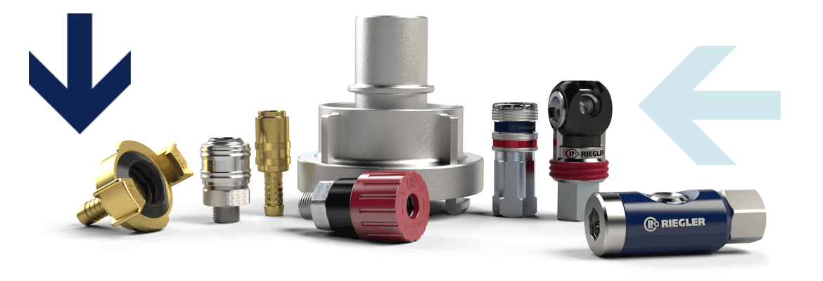 Compressed air and pneumatic coupling, safety coupling, industrial coupling