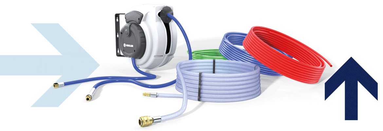 Hose winder, PVC braided hose, PUR-,PU-,PE-hose