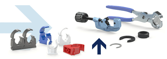 Pipe clips, water trap tees, plastic pipe cutter
