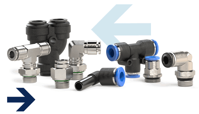 Push-in_fittings blue series, blue series mini, click clock series