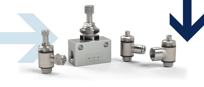 Unidirectional flow control valves made of aluminium or stainless steel, outgoing air restriction, incoming air restriction
