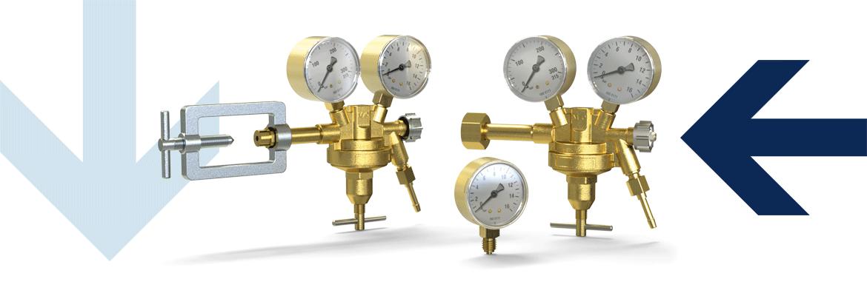 Cylinder pressure regulator with pressure gauge